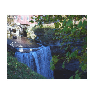 Waterfalls and historic grist mill canvas print