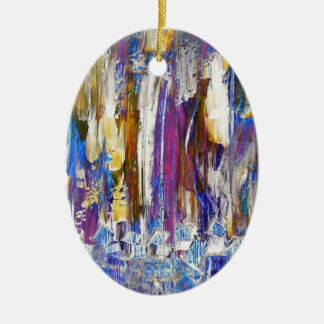 Waterfalls and Ice Cubes Ceramic Ornament