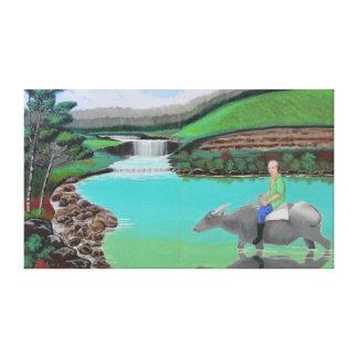 Waterfalls and Man Riding a Carabao Canvas Print