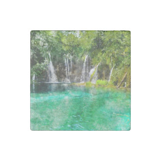 Waterfalls at Plitvice National Park in Croatia Stone Magnet
