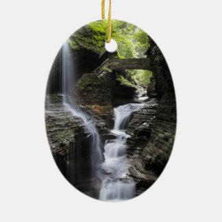 Waterfalls at Watkins Glen, NY Ceramic Ornament