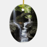 Waterfalls at Watkins Glen, NY Double-Sided Oval Ceramic Christmas Ornament