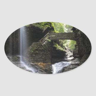 Waterfalls at Watkins Glen, NY Oval Sticker