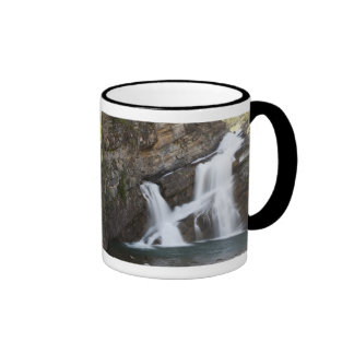 Waterfalls Coming Out Of A Rock Cliff Ringer Mug