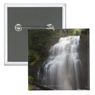 Waterfalls Flowing Down A Rock Cliff 2 Inch Square Button