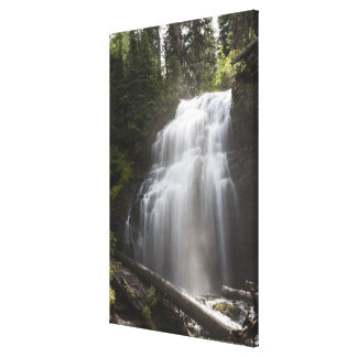 Waterfalls Flowing Down A Rock Cliff Stretched Canvas Print