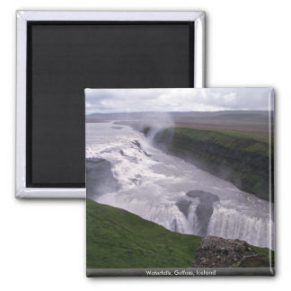 Waterfalls, Gulfoss, Iceland 2 Inch Square Magnet