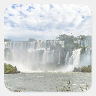 Waterfalls Landscape at Iguazu Park Square Sticker