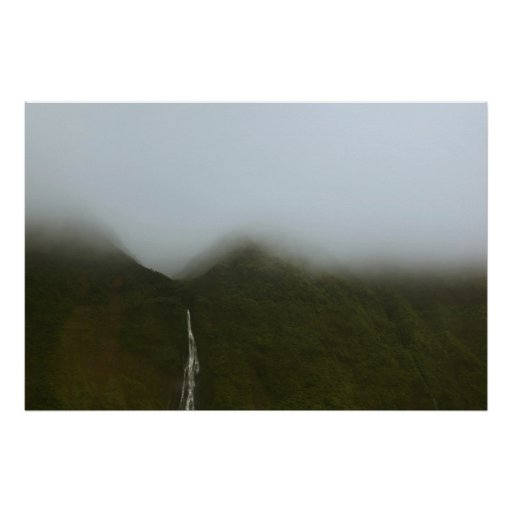 waterfalls na pali coast kauai hawaii poster