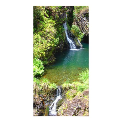 Waterfalls on the Road to Hana, Maui, Hawaii Personalized Photo Card