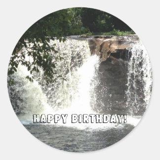 Waterfalls River Trees Happy Birthday Stickers