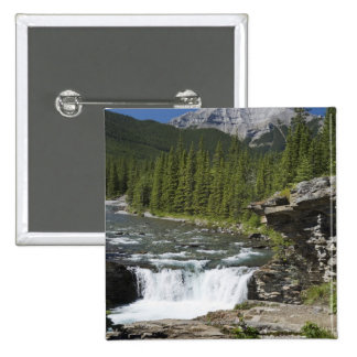 Waterfalls With Rock Ledge And A Mountain 2 Inch Square Button
