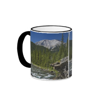 Waterfalls With Rock Ledge And A Mountain Ringer Mug