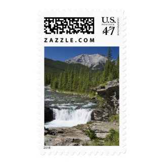 Waterfalls With Rock Ledge And A Mountain Stamp