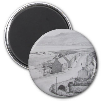 Waterfoot, County Antrim pencil drawing by Joanne  2 Inch Round Magnet