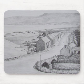 Waterfoot, County Antrim pencil drawing by Joanne  Mouse Pad