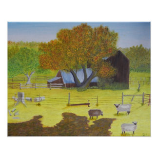 Waterford Barn & Sheep Poster