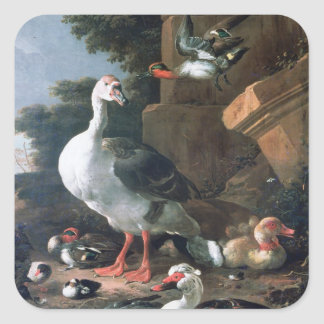 Waterfowl in a classical landscape, 17th century square sticker