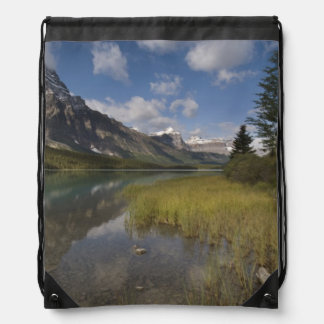 Waterfowl lake along the Icefields parkway, Drawstring Bag