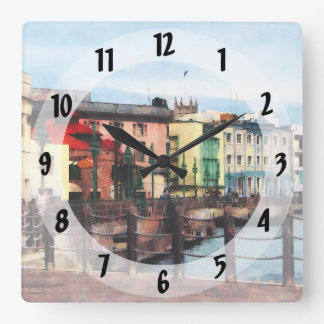 Waterfront Bridgetown Barbados Square Wall Clock