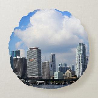 Waterfront view of Miami Round Pillow