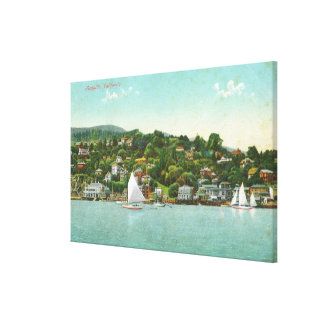 Waterfront View of the City, Sail Boats Canvas Print