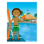 Watergun Pool Boy Postcard