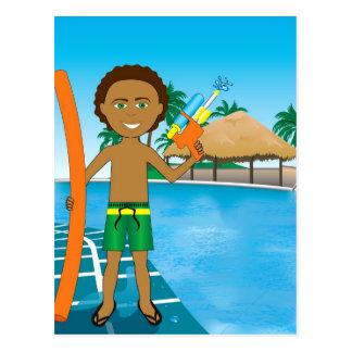 Watergun Pool Boy Postcard