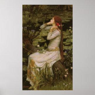 Waterhouse de Ofelia (por la charca) JW, arte del Póster