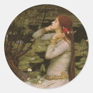 Waterhouse de Ofelia (por la charca) JW, arte del Etiqueta Redonda