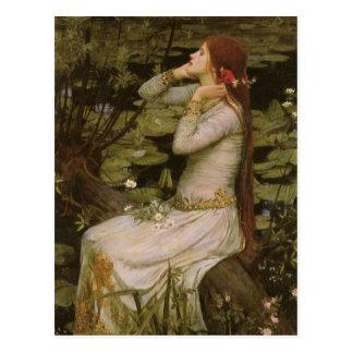Waterhouse de Ofelia (por la charca) JW, arte del Postal