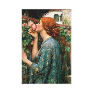 Waterhouse el alma de la impresión color de rosa d lienzo envuelto para galerias