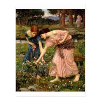 Waterhouse-gather_ye_rosebuds-1909. Postal