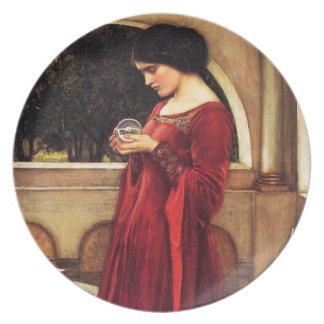 Waterhouse la placa de la bola de cristal plato de cena