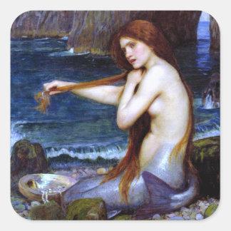 Waterhouse: La sirena Pegatina Cuadrada