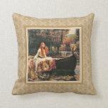 Waterhouse Lady of Shalott Gold Damask Pillow