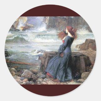 Waterhouse miranda the tempest woman ship wreck classic round sticker