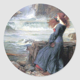 Waterhouse miranda the tempest woman ship wreck classic round sticker