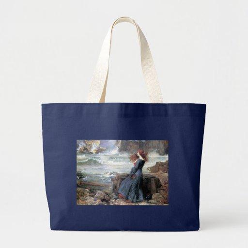 Waterhouse miranda the tempest woman ship wreck jumbo tote bag