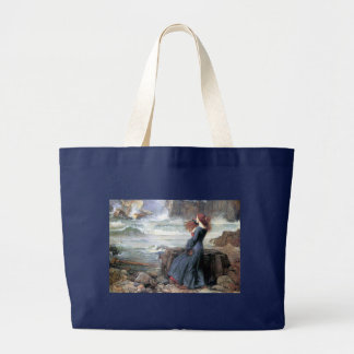 Waterhouse miranda the tempest woman ship wreck large tote bag