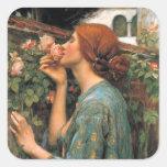 Waterhouse: Olor de rosas Calcomanías Cuadradases