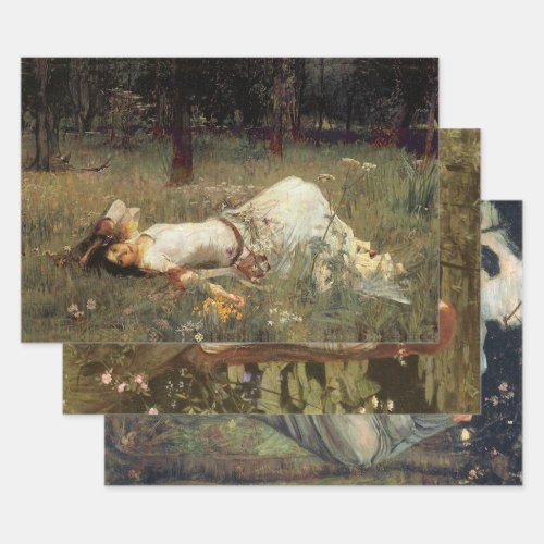 WATERHOUSE PAINTINGS HEAVY WEIGHT DECOUPAGE PRINTS WRAPPING PAPER SHEETS