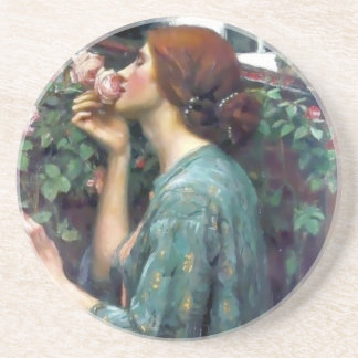 Waterhouse Scented Rose painting Drink Coaster