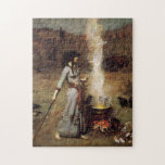 """Waterhouse The Magic Circle Puzzle<br><div class=""""desc"""">John William Waterhouse the Magic Circle puzzle. Oil painting on canvas from 1886. The Pre-Raphaelite painter John Waterhouse regularly drew from literary and mythological themes. The Magic Circle continues the artist's fascination with the supernatural, depicting a sorceress with dark hair drawing a magic circle in the dirt with a wand....</div>"""