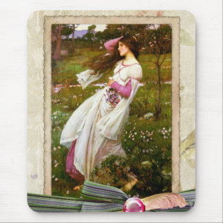 Waterhouse Windflowers Collage Mouse Pad
