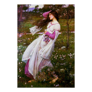 Waterhouse Windflowers Poster