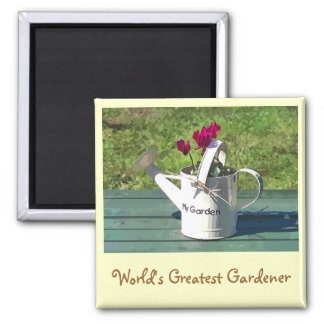 WATERING CAN 2 INCH SQUARE MAGNET