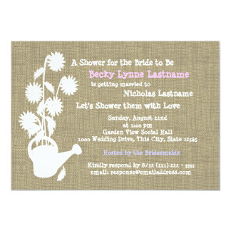 Watering Can and Burlap Bridal Shower Card
