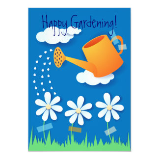 Watering can and flowers, invitation