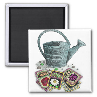 Watering Can and Seed Packets Design Magnet